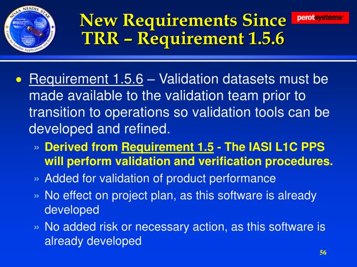 New Requirements Since TRR – Requirement 1.5.6