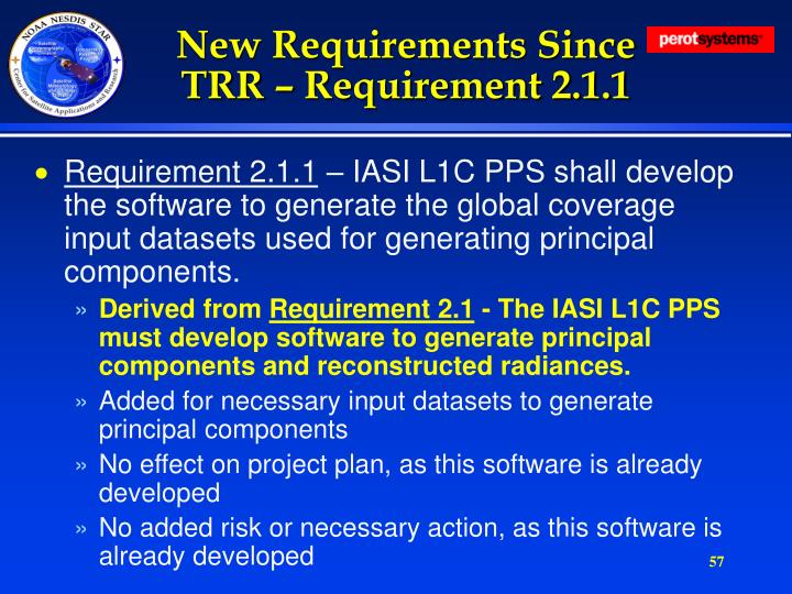 New Requirements Since TRR – Requirement 2.1.1