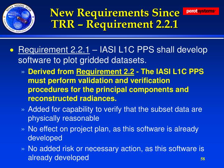 New Requirements Since TRR – Requirement 2.2.1
