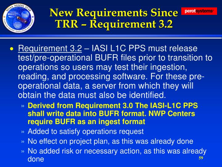 New Requirements Since TRR – Requirement 3.2