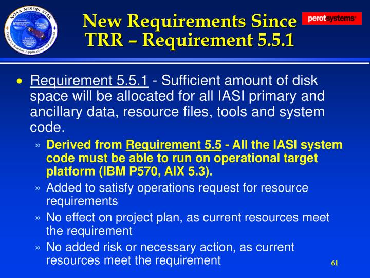 New Requirements Since TRR – Requirement 5.5.1