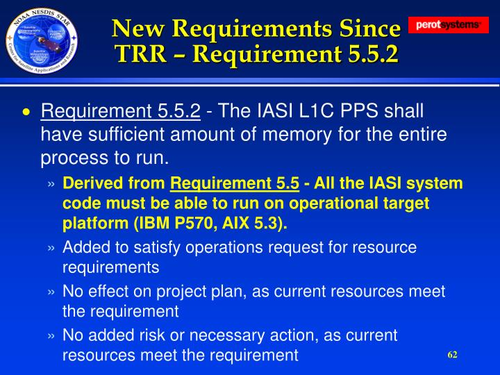 New Requirements Since TRR – Requirement 5.5.2