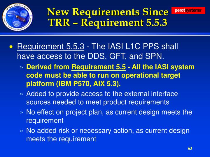 New Requirements Since TRR – Requirement 5.5.3