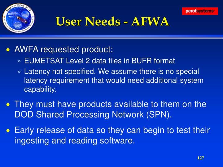 User Needs - AFWA