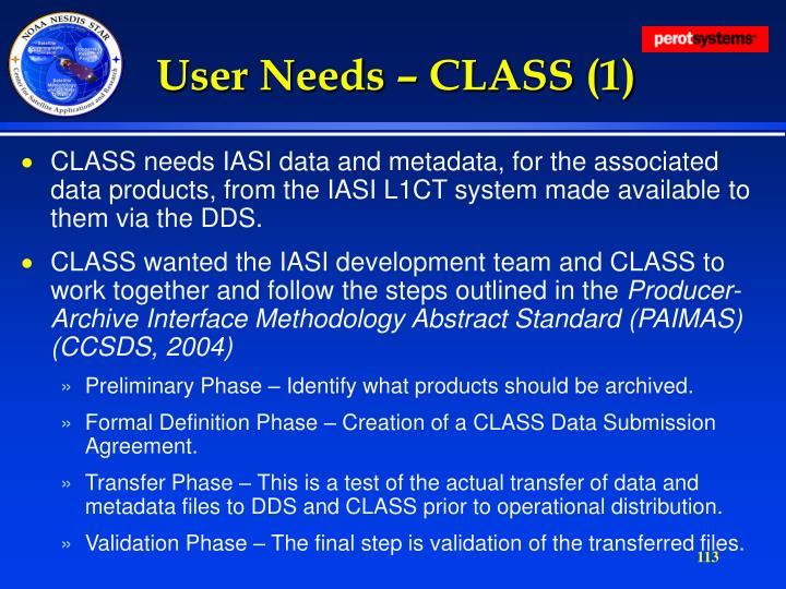 User Needs – CLASS (1)