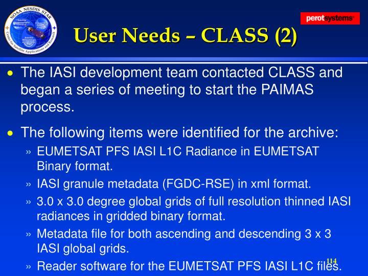 User Needs – CLASS (2)