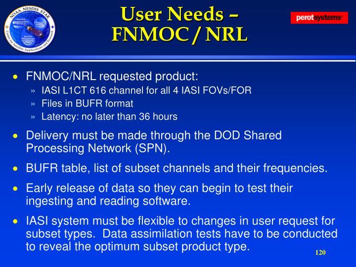 User Needs –