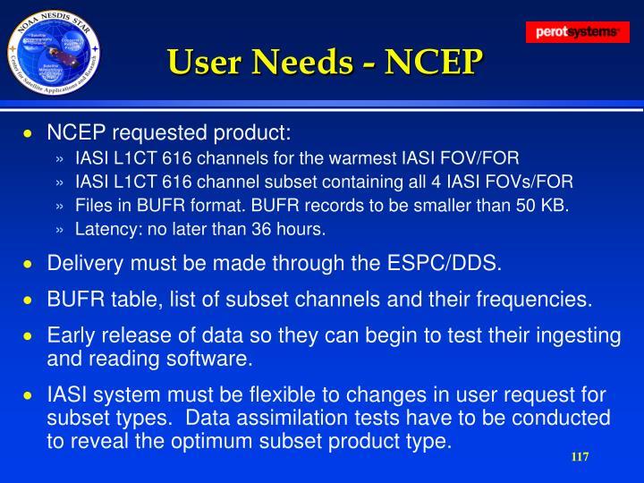 User Needs - NCEP