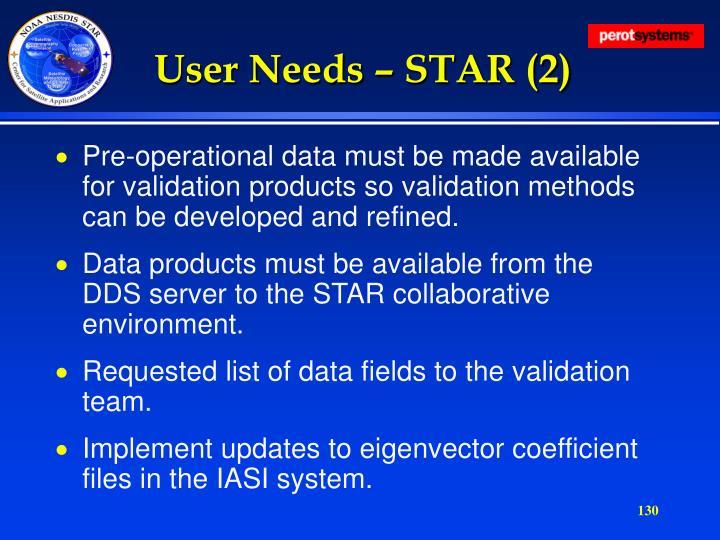 User Needs – STAR (2)