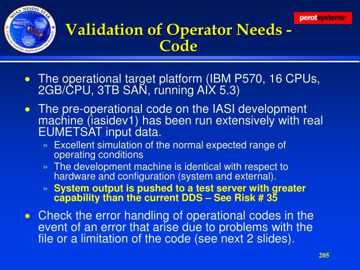 Validation of Operator Needs - Code