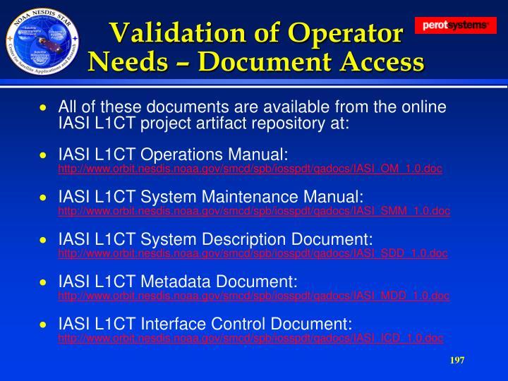 Validation of Operator Needs – Document Access