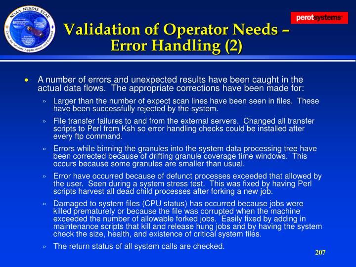 Validation of Operator Needs – Error Handling (2)