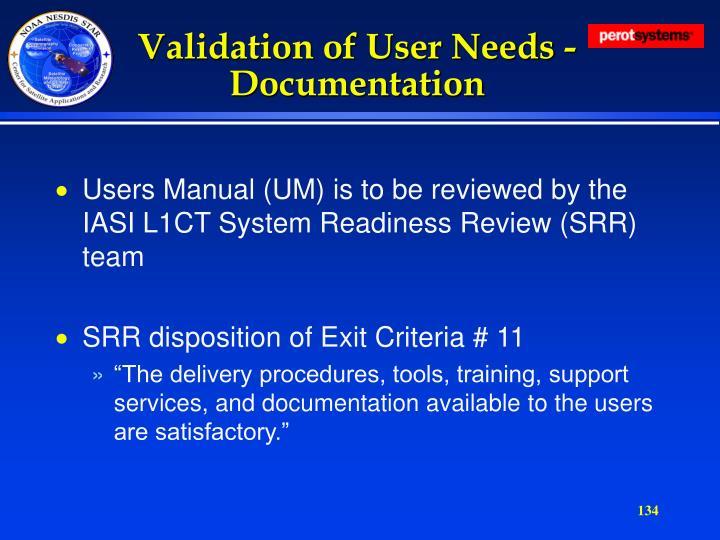 Validation of User Needs - Documentation