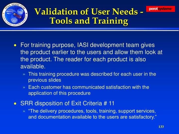 Validation of User Needs -