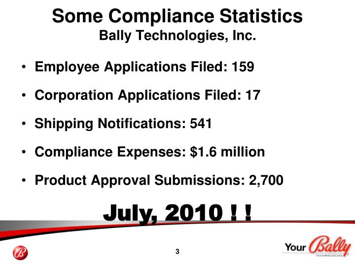 Some compliance statistics bally technologies inc1