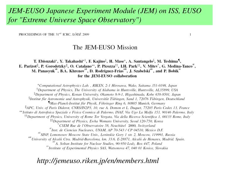 JEM-EUSO Japanese Experiment Module (JEM) on ISS,