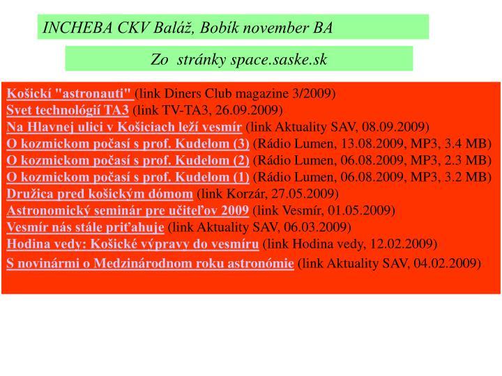 INCHEBA CKV Baláž, Bobík november BA