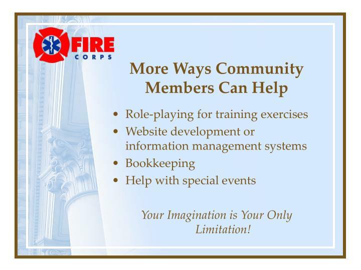 More Ways Community Members Can Help