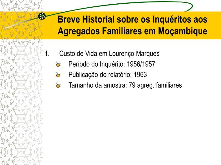 Breve Historial sobre os Inquéritos aos Agregados Familiares em Moçambique