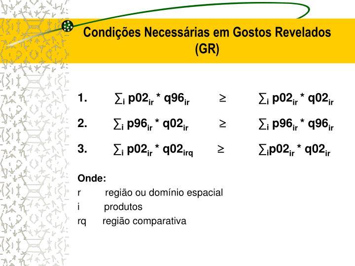 Condições Necessárias em Gostos Revelados (GR)