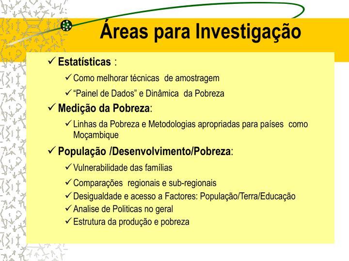 Áreas para Investigação