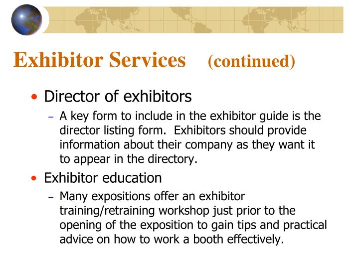 Exhibitor Services