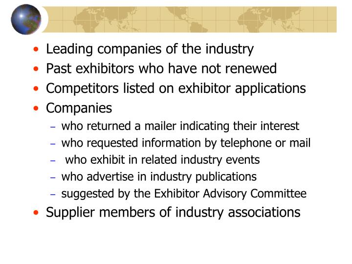 Leading companies of the industry