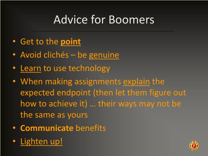 Advice for Boomers