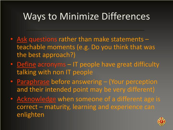 Ways to Minimize Differences