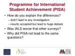 programme for international student achievement pisa