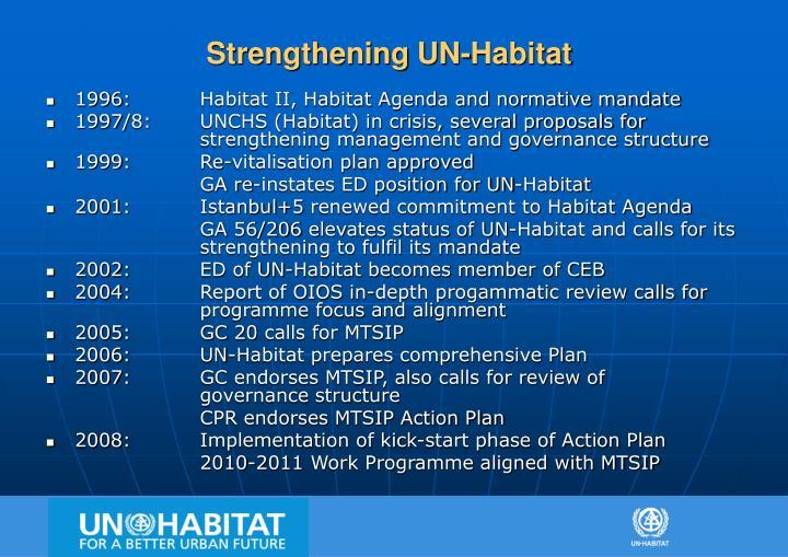 Strengthening UN-Habitat