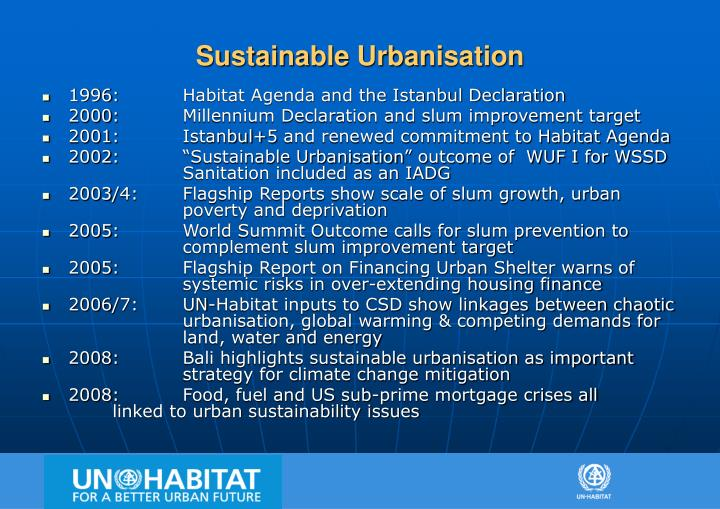 Sustainable urbanisation