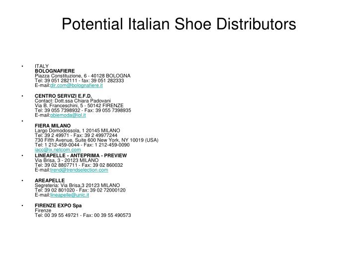 Potential Italian Shoe Distributors