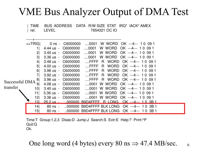 VME Bus Analyzer Output of DMA Test