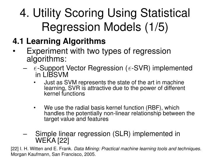 4. Utility Scoring Using Statistical Regression Models (1/5)