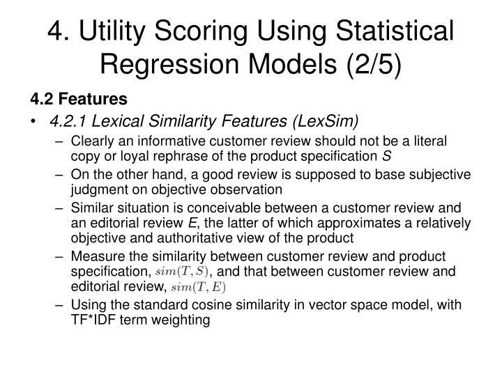 4. Utility Scoring Using Statistical Regression Models (2/5)