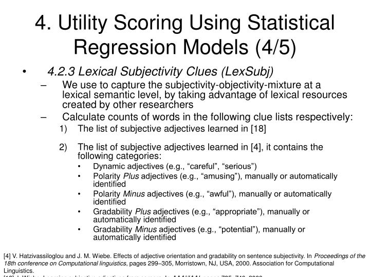 4. Utility Scoring Using Statistical Regression Models (4/5)