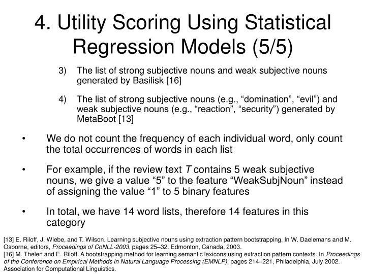 4. Utility Scoring Using Statistical Regression Models (5/5)