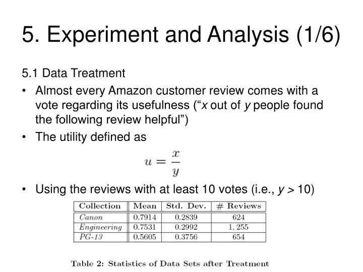 5. Experiment and Analysis (1/6)