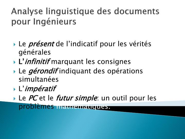 Analyse linguistique des documents pour Ingénieurs