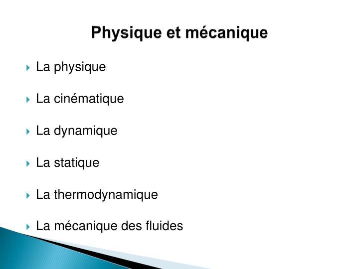 Physique et mécanique