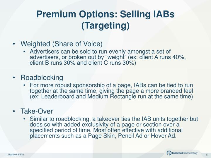 Premium Options: Selling IABs (Targeting)