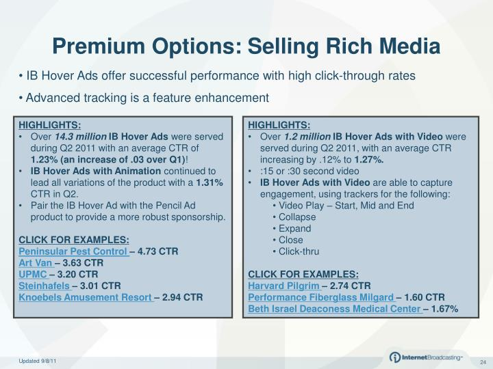 Premium Options: Selling Rich Media