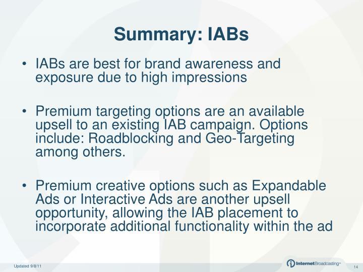 Summary: IABs