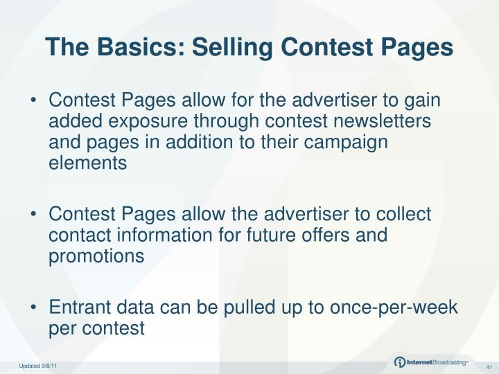 The Basics: Selling Contest Pages