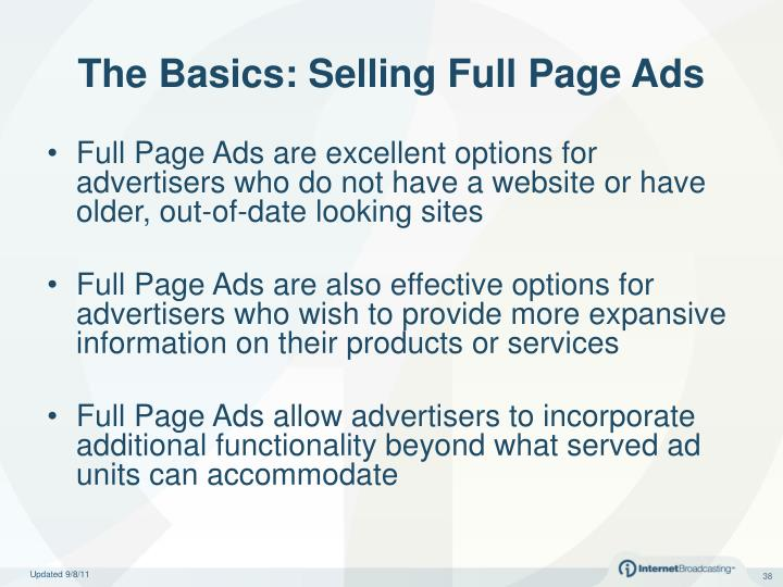The Basics: Selling Full Page Ads