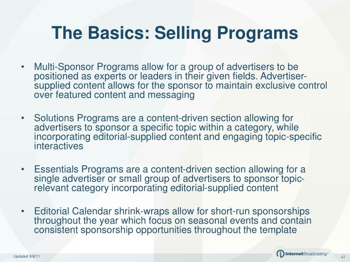 The Basics: Selling Programs