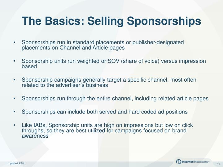 The Basics: Selling Sponsorships