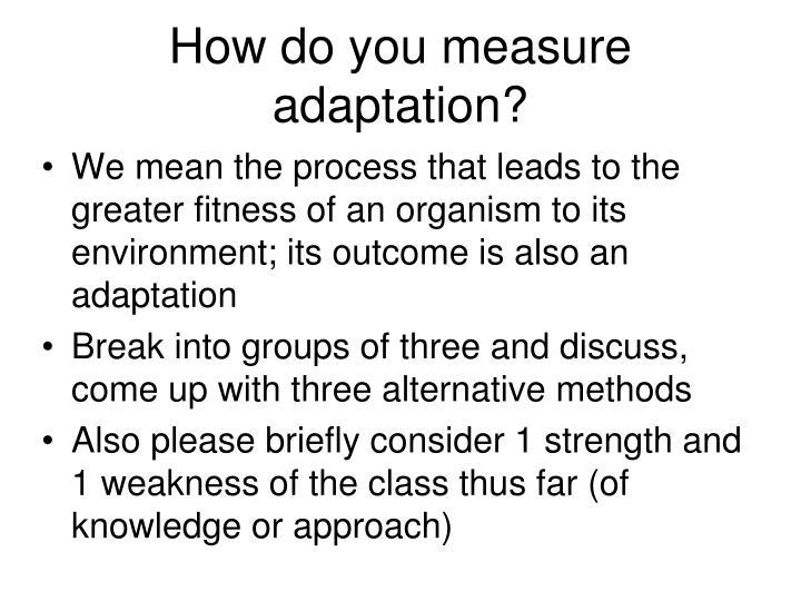 How do you measure adaptation?