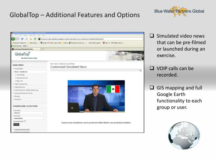 GlobalTop – Additional Features and Options